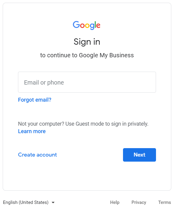 Google My Business Profile Log In Screen
