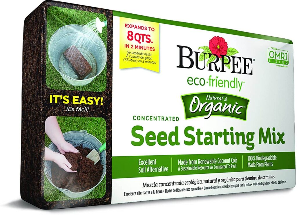 Burpee 8 qt Organic Coir Compressed Seed Starting Mix 1-Brick for Microgreens