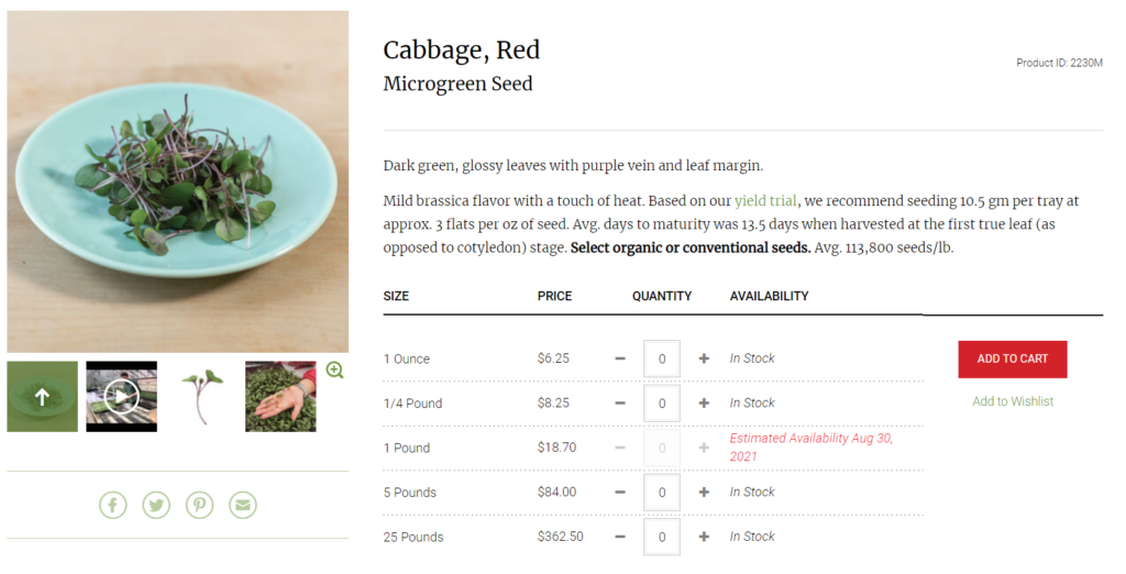 Johny's Selected Seeds Red Cabbage Listing